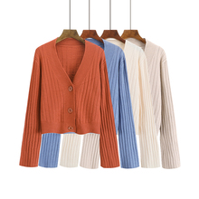 4 Solid Color Cropped Cardigan Kawaii Elegant Autumn Buttons Long Sleeve Korean Cardigan Women Simple Chic Knitted Sweater Mujer sweet solid color collarless long raglan sleeve cardigan for women