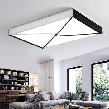 Fashion zwart wit plafond lamp led eenvoudige moderne lampen slaapkamer plafond verlichting rechthoekige sfeervolle woonkamer LU8091652