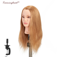 Traininghead 20 22'' 100% Human Hair Mannequin Head For Wigs Salon Professional Braiding Practice Training Head Dummy Doll Head