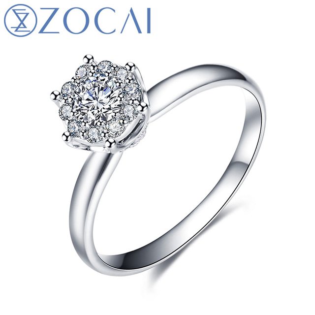 ZOCAI Ring Cluster Setting Real 0.38 CT Certified H/SI Round Cut Diamond Engagement Women Ring 18K White Gold (AU750) W80089T