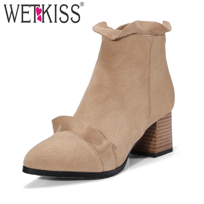 WETKISS Sweet Shoes Women Designers Ruffles Ankle Boots Womens Winter Boots Autumn High Heels Leather Suede Shoes Woman Zip