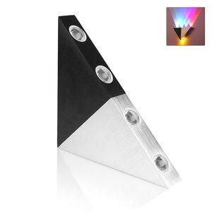 Image 2 - 5 w 알루미늄 삼각형 led 벽 램프 AC90 265V 높은 전원 led 현대 홈 조명 실내 야외 파티 공 디스코 빛