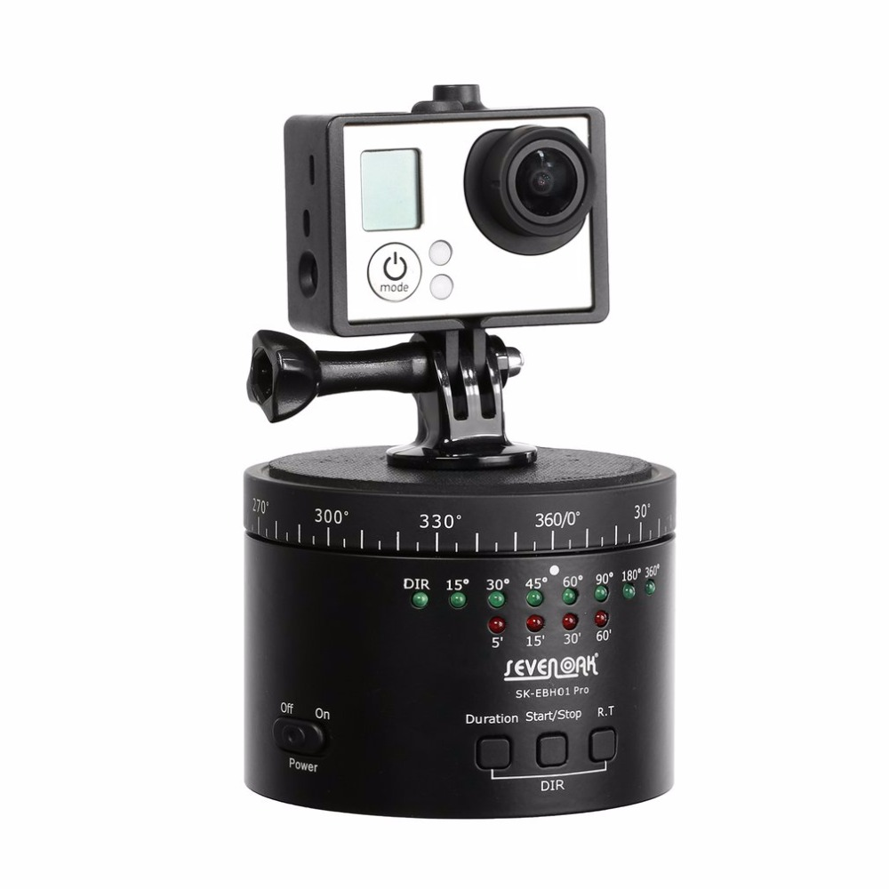 SEVENOAK SK-EBH01 Pro Electronic Panorama Delay Time Lapse Ball Tripod Head Gimbal with Tripod-mountable Turntable Base ...