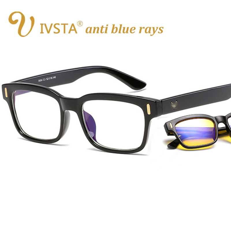 IVSTA Anti Blue Rays Computer Glasses Men Blue Light Gaming Glasses Protection Myopia Spectacles Prescription Optical 8084 V bowtie decor blue black plastic full rim spectacles glasses eyeglasses frame
