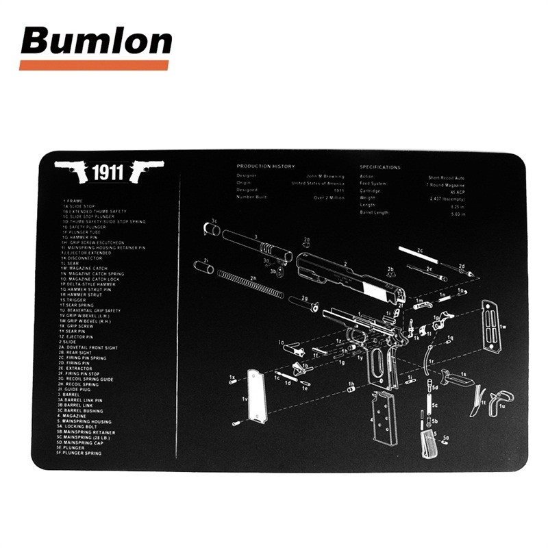 glock gun cleaning bench mat rubber carpet 17x11 waterproof with diagram  parts and instructions armourist bench mat 37 0068-in hunting gun  accessories from