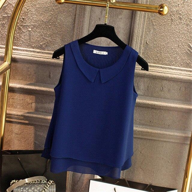 Multi-layer Women Spring Summer Style Chiffon Blouses Shirts Lady Casual Sleeveless Peter Pan Collar Blusas Tops DD1822 6