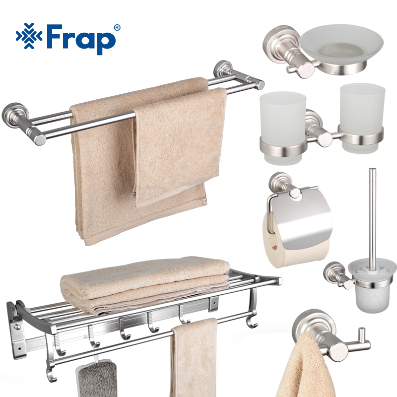 Frap 7 Pieces Bathroom Accessories Space Aluminum Cup Holder Glass Cups Robe Hook Tooth Brush Tooth