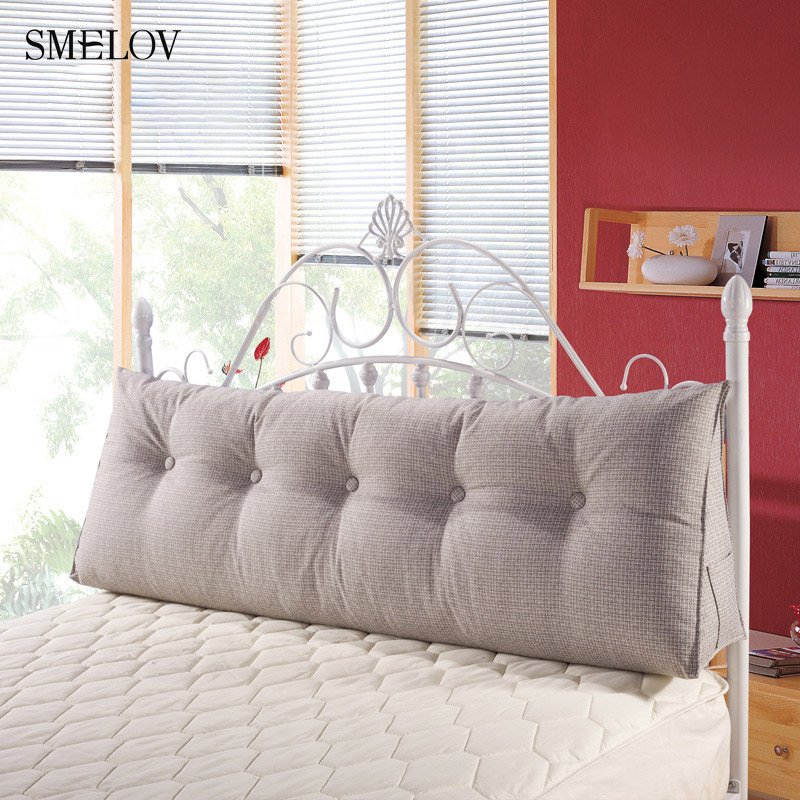 luxury Pure color cotton linen large big long wedge bed pillow standard back support pillow rest