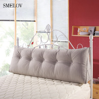 luxury Pure color cotton linen large big long wedge bed pillow standard back support pillow rest cushion reading pillow for bed