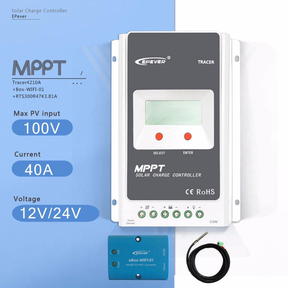 MPPT 40A Tracer 4210A Solar Charge Controller 12/24V Auto Solar Battery Charge Regulator with Ebox-WIFI and Temperature Sensor 20a solar battery charging regulator with wifi function and usb mppt tracer2210a