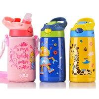 400ML Baby Kids Water Bottle Feeding Insulation Bottle Straw Stainless Steel BPA Free Winter School Portable Thermos Bottle