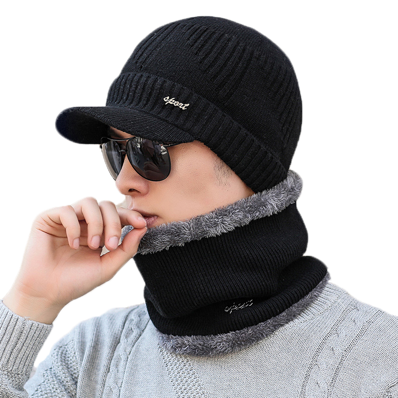 Autumn Winter Male Hat Plus Velvet Thick Knitted Wool Hat Scs
