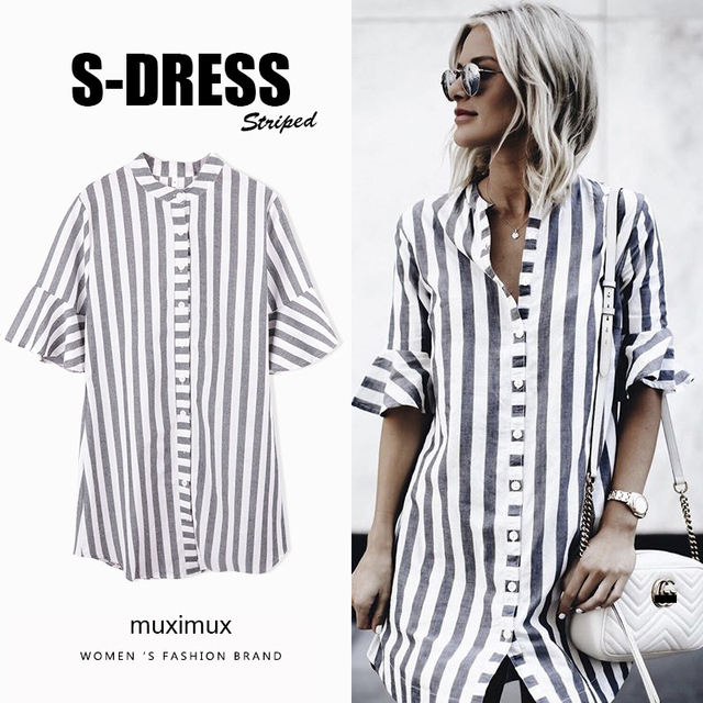 2018 Summer Women Shirt Dresses Autumn Boho Casual Butterfly Sleeve Striped Midi Beach Holiday Dress Shirt For Women Vestido