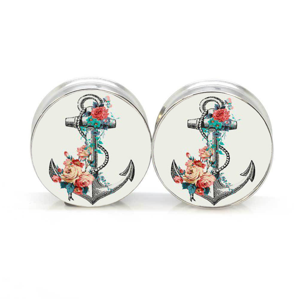 1 pair anchor flower stainless steel night owl plug tunnels double flare ear plug gauges body piercing jewelry