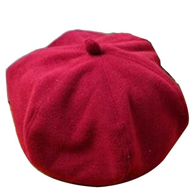 3bf76bd13e654 Girl Woolen Cap Artist Pure Color Beret Fashion Retro Casual Solid Sweet  Elastic Dome Elegant Vintage Hat
