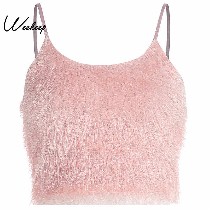 233fa538c0 Weekeep Women Pink Cropped Camis High Street Backless Strap Crop Top 2019  Spring Summer Sexy Camis