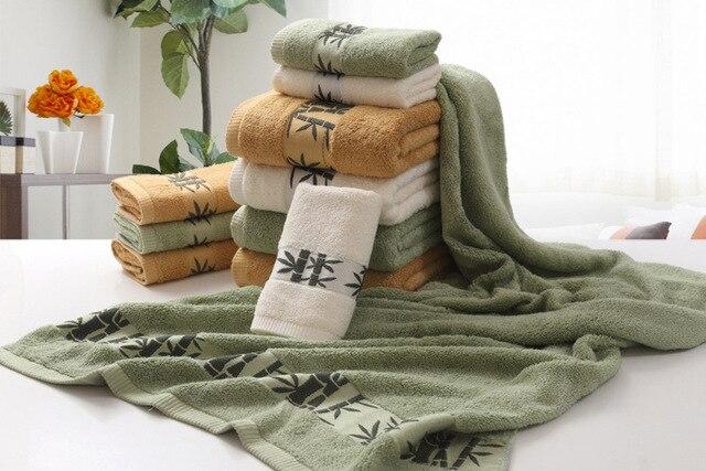 LYN&GY 2018 New Men Bamboo Fiber Bath Beach Brand Bathroom Towel Set for Adults 1PC 70*140CM bath towel 2PCS 34*75CM Face Towels
