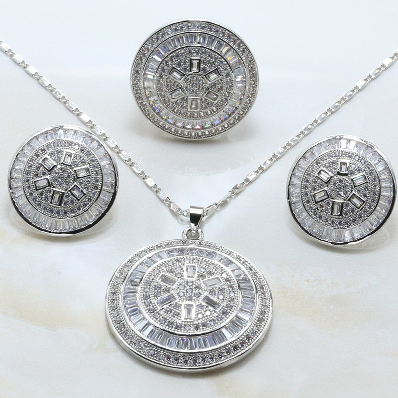 Otogo Transing Fashion Silver Color White Crystal Marks Jewelry Sets White Crystal Earrings Necklaces Rings S276