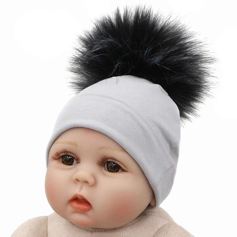 fb5406e58aa ... Solid Cotton Newborn Hat Faux Fur Baby Cap Pompom Bobble Hat For Kids  Winter Boys And ...