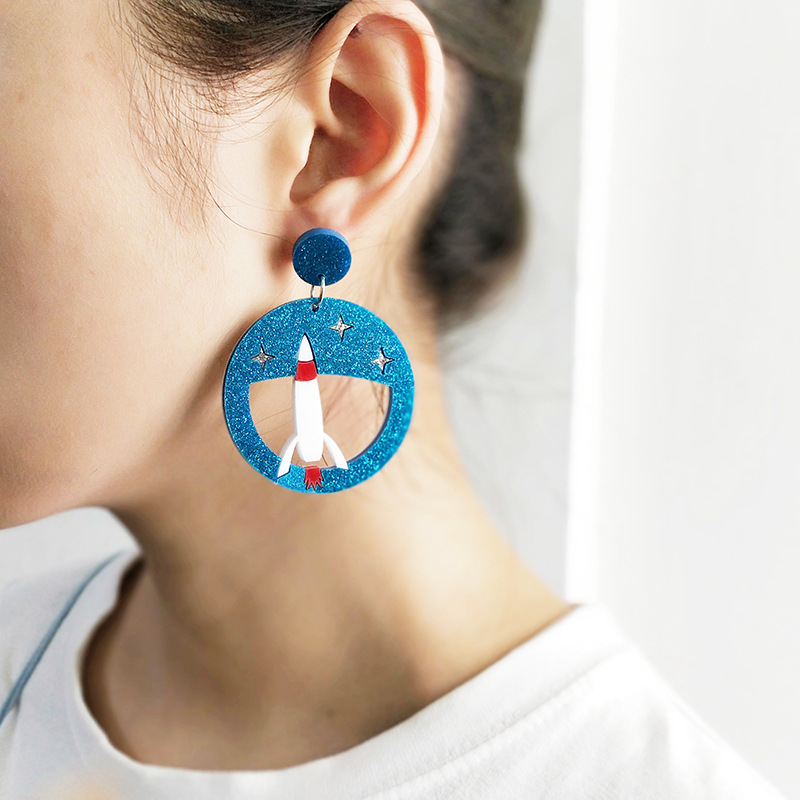 New Round Acrylic Hollow Out Large Drop Earring for Women Fashion Jewelry Rockets Cat Penguin Dangle Earrings High Quality Gift in Drop Earrings from Jewelry Accessories