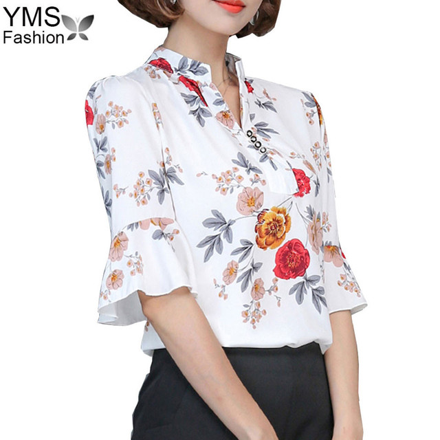 868a91e9cff06 2018 Summer New Fashion Floral Printed Chiffon Blouse Shirts Women Tops And Blouses  Ladies Office Blouse Plus Size S-XXXL