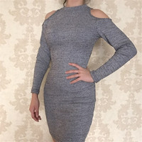 MOSHU Sexy Bodycon Dress Winter Women Fashion Vintage Party Dress Hollow Out Full Sleeve Pencil Dress Vestidos Gray Clothes