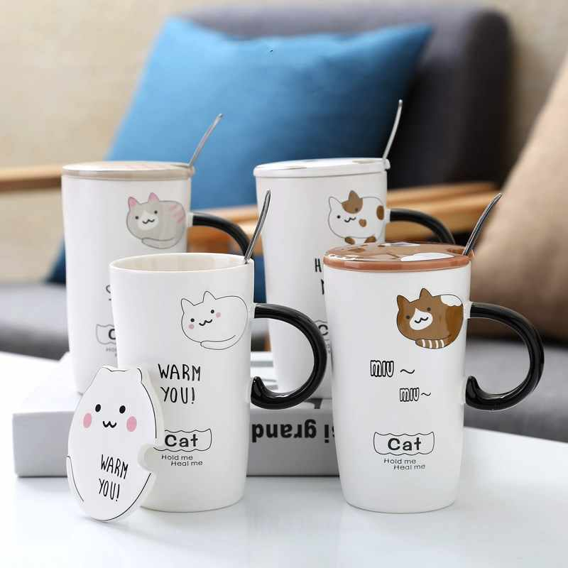 Creative Ceramic Cat Cups Cartoon Animal Anti-scalding Mugs Cute Cat Shape Cup Cover Children Breakfast Coffee Milk Tea Mug