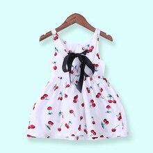 Girls Summer Dress Girl A Line Dress O-Neck Short Sleeeve Cherry Print Bow Decor Backless Princess Cute Dresses Child Clothes недорого
