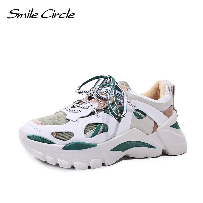 ابتسامة دائرة المرأة أحذية شقة منصة حذاء رياضة الدانتيل متابعة عارضة مريحة خليط سميكة أسفل السيدات حذاء رياضة-في أحذية نسائية مسطحة من أحذية على  مجموعة 1