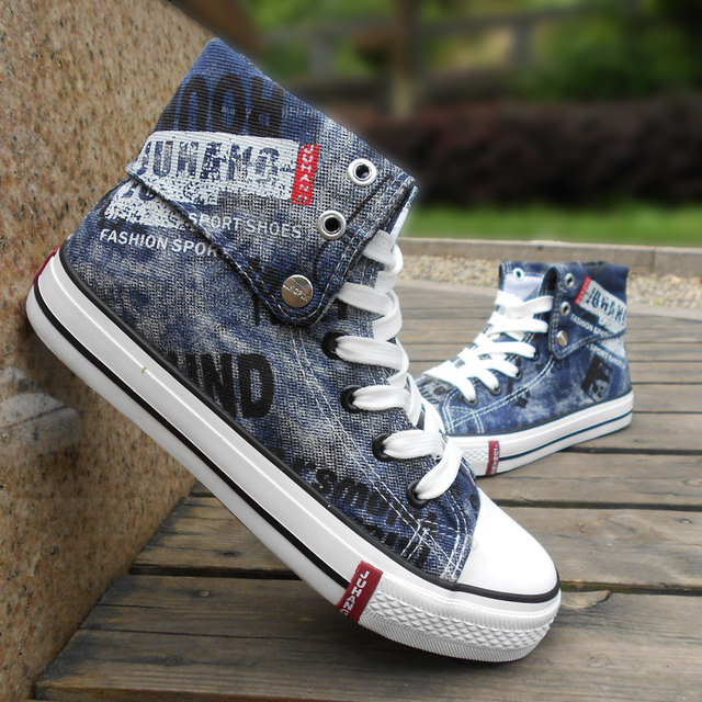 d96fad08644 Man s ankle high canvas shoes men s men casual two wearing ways denim fabric  lacing-up shoes