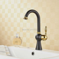 Royal Grilled Black Painted Brass Bathroom Faucet Gold Handle Curved Swivel Black Bronze Basin Sink Mixer