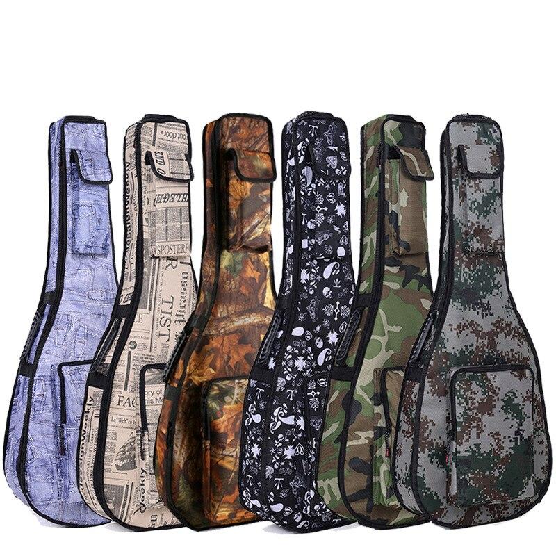 Guitar folk acoustic guitar package thick waterproof camouflage shoulder bag ukulele musical instrument paper leaf printing pack or fabric camouflage leaf headgear