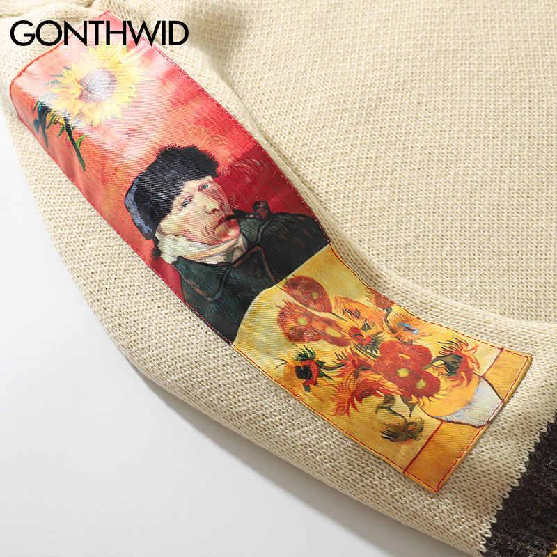 GONTHWID Van Gogh Hülse Patchwork Pullover Stricken Pullover 2019 Herren Hip Hop Stickerei Crewneck Strickwaren Pullover Streetwear Tops