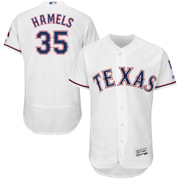MLB Mens Texas Rangers Cole Hamels Baseball Home White Flex Base Authentic Collection Player Jersey