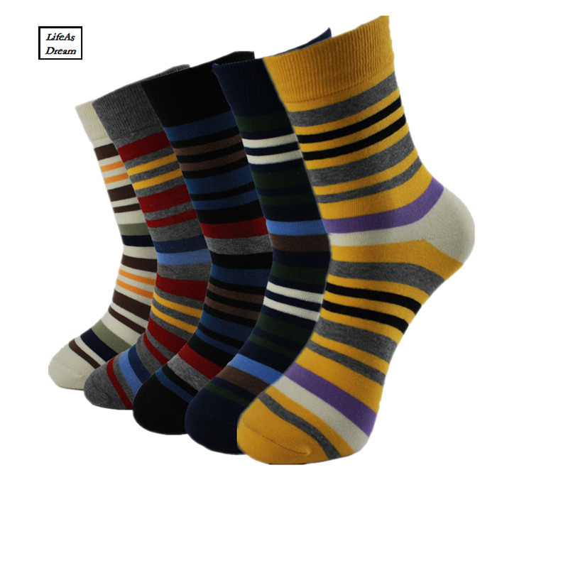 Fashion Colorful Socks Men Hit Color Stripes Big Dot Jacquard Filled Optic Combed Cotton Male Sock Business Sock 5 Pairs/Lot