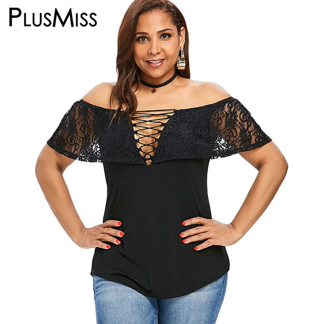 5f8534ac91ada US $11.86 40% OFF|PlusMiss Plus Size 5XL XXXXL XXXL Off the Shoulder Lace  Crochet Ruffle Tops Tee Ladies Sexy Lace Up V Neck T Shirt Women T shirt-in  ...