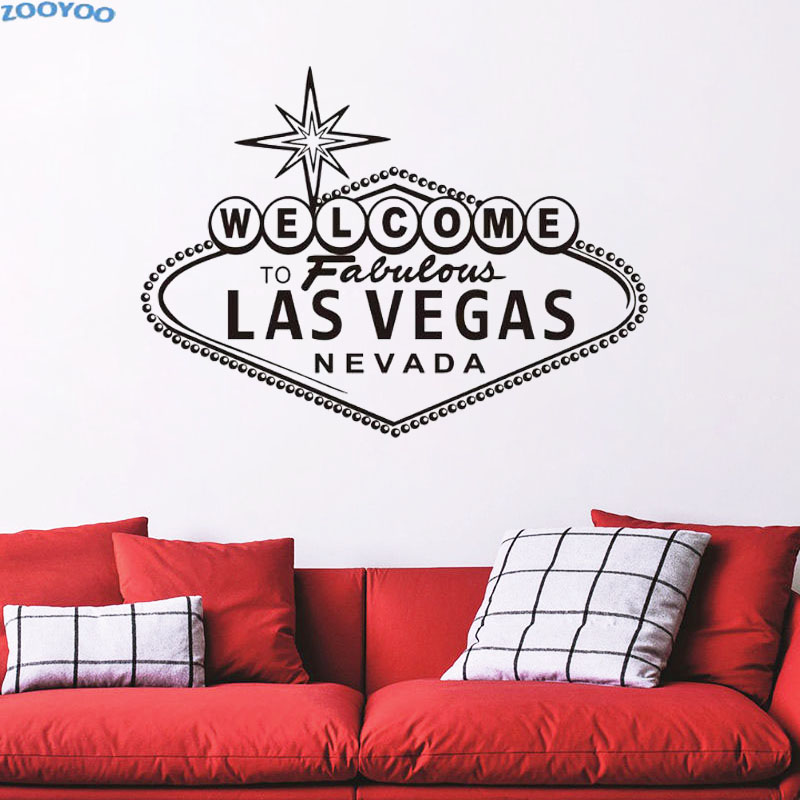 Wall sticker welcome to fabulous las vegas wall decals vinyl character art decorative wall decal for living room in wall stickers from home garden on
