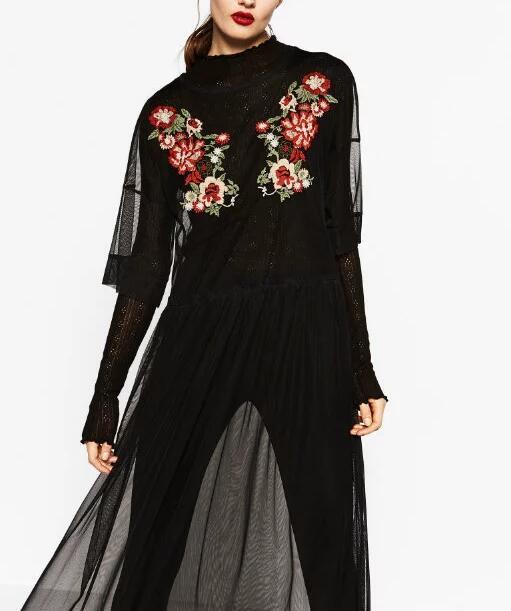 Women vintage mesh patchwork flower embroidery dress