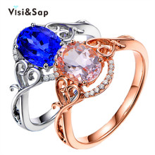 Visisap Luxury Rose White Gold Color Ring Oval Stone Wedding Rings For Women Fashion Jewelry Lovers Gifts Dropshipping VSR146