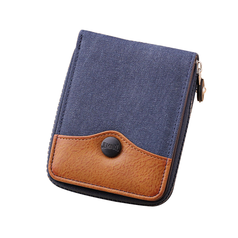 Denim Small Mens Wallet Canvas Men Wallets Leather Male Purse Card Holder Coin Pocket Cloth Zipper Money Bag cartera hombre
