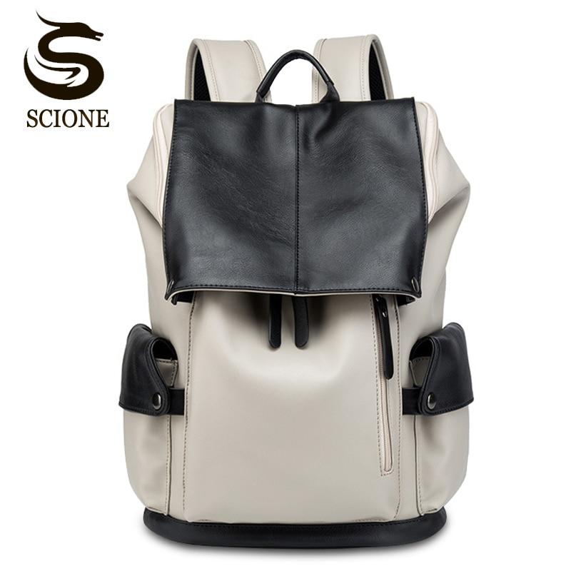 8ae1234a9f6e Горячая Большая емкость PU мужские многофункциональные рюкзаки дорожный  рюкзак для мужчин и женщин сумка для ноутбука