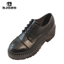 CBJSHO High Quality British Style Women Oxfords Flats Platform Shoes Round To Brogue Loafers Brand Female Shoes Black Creeper
