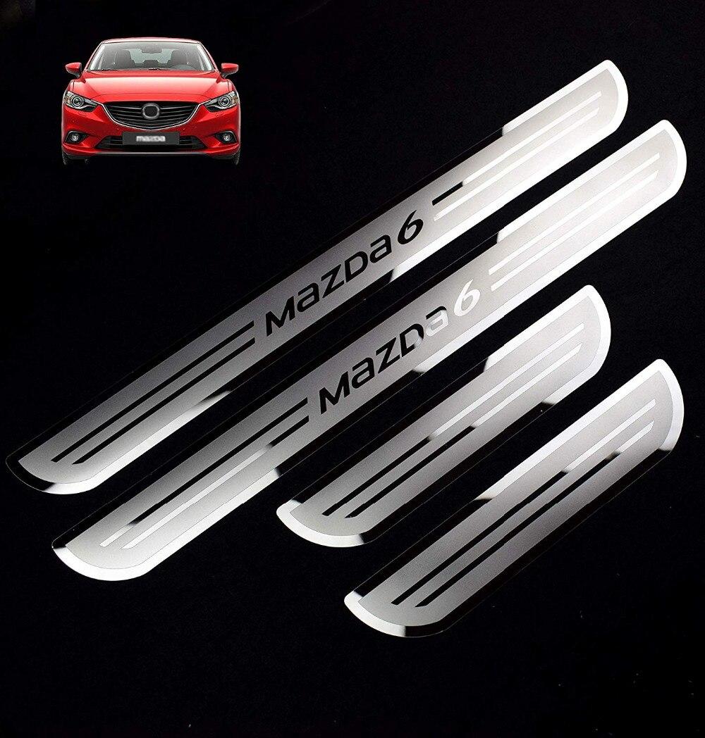 Seuils de porte en acier inoxydable pour voiture plaque de seuil pour Mazda 6 rebords de porte à deux tons MAZDA6 2015-2019