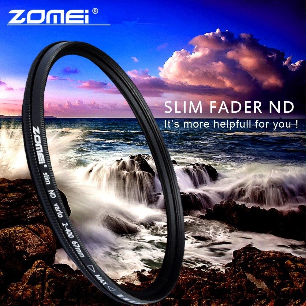 ZOMEI Glass Slim ND2-400 Neutral Density Fader Variable ND filter Adjustable 49/52/55/58/62/67/72/77/mm zomei fader variable nd filter neutral density adjustable nd2 400 49 52 55 58 62 67 72 77 82mm for canon nikon slr camera lens
