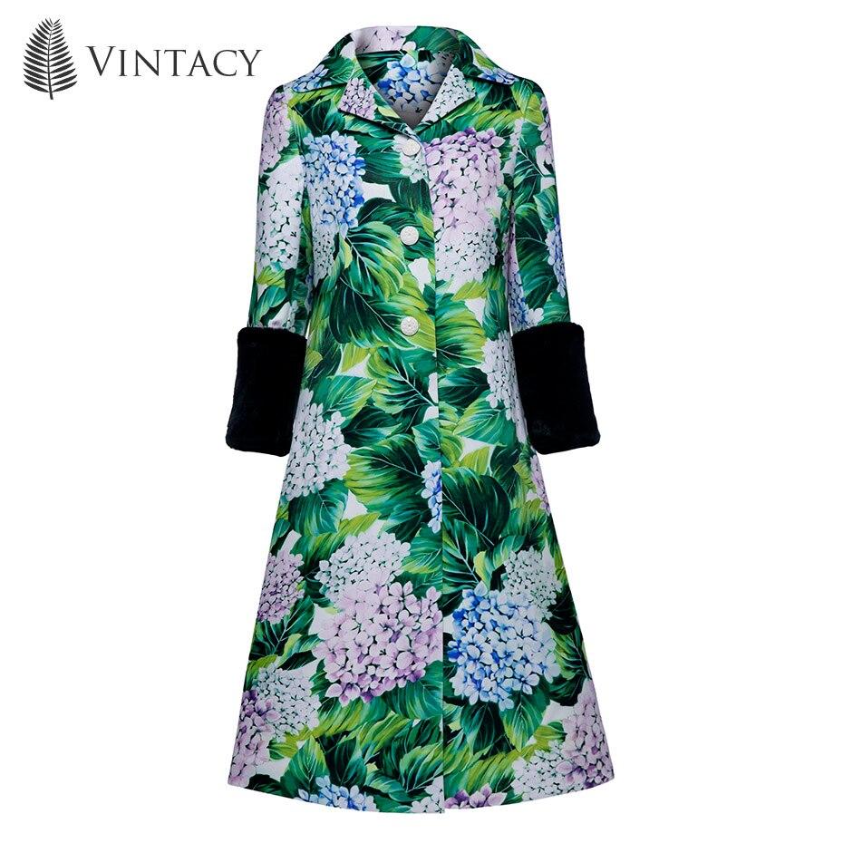 Vintacy Women Overcoat A-Line Green Button Print Plant Floral Color Block Notched Lapel 2018 Top Fashion Female Women Overcoat