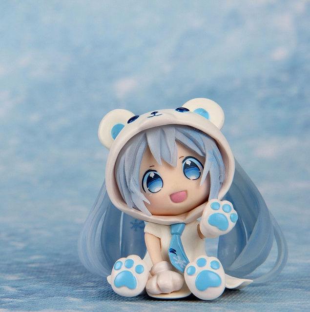 Japão Anime Hatsune Miku Figma Nendoroid Figura de Urso Branco Neve Miku Q Ver. colecionáveis Brinquedos Crianças Brinquedos Juguetes
