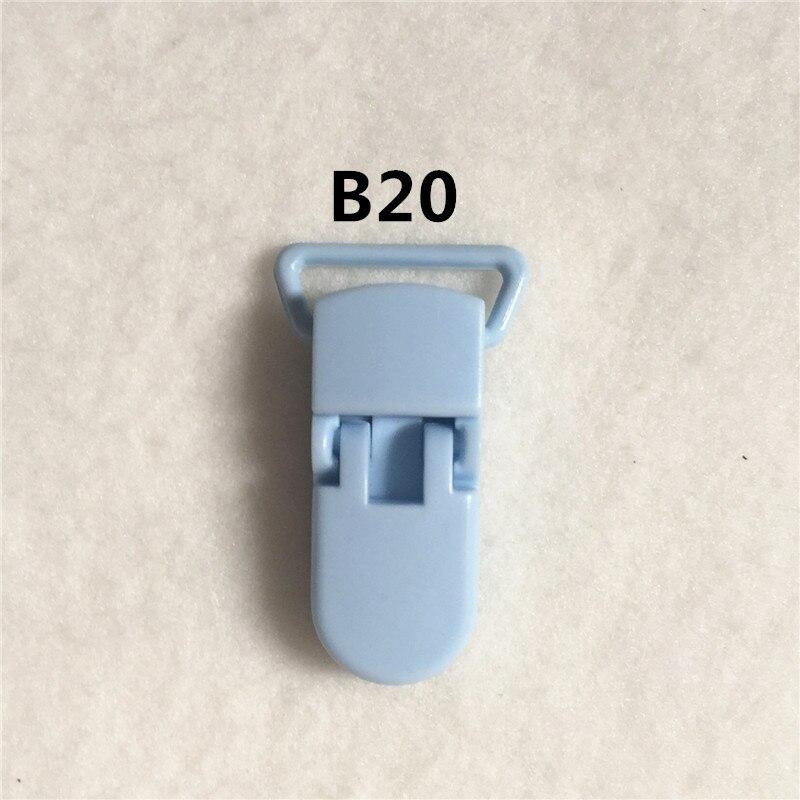 20 цветов) DHL 200 шт. 20 мм КАМ Пластик маленьких Соски NUK MAM пустышка Chain Зажимы чулок Зажимы - Цвет: B20