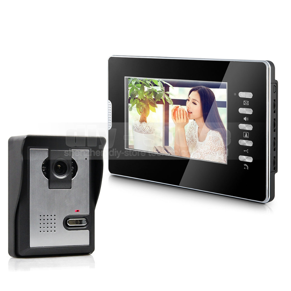 DIYKIT 7inch Wired Video Door Phone Video Intercom Waterproof 600TVLine Camera IR Night View Unlocking