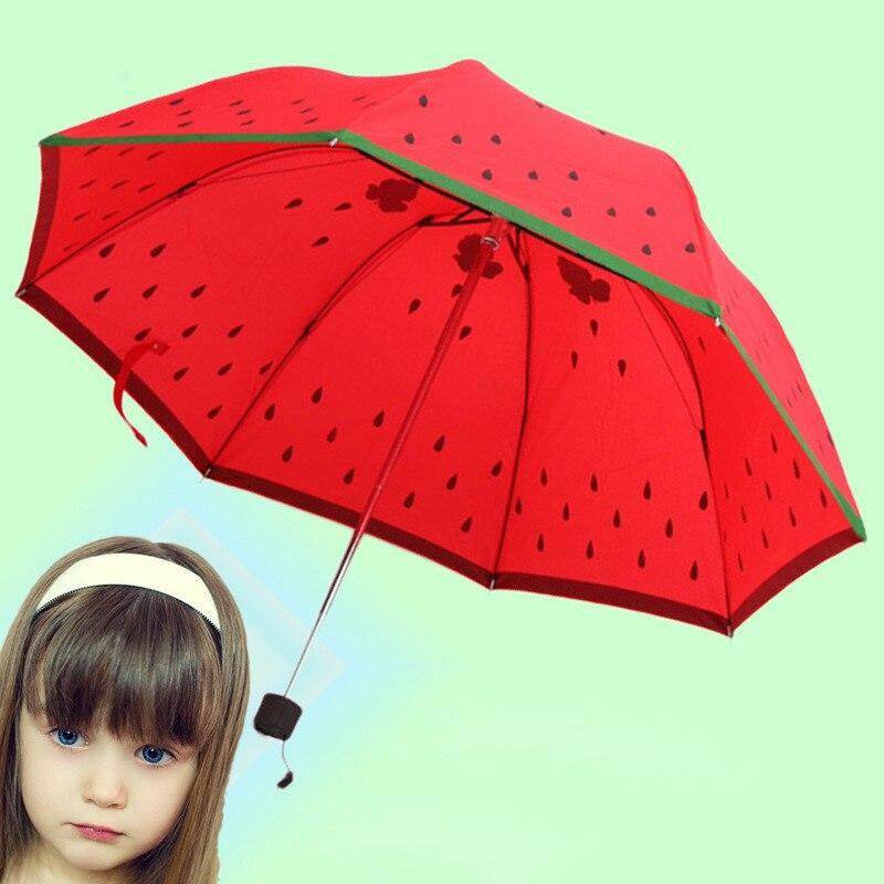 Sun Rain Umbrella Children Three Folded Watermelon Looking Cute