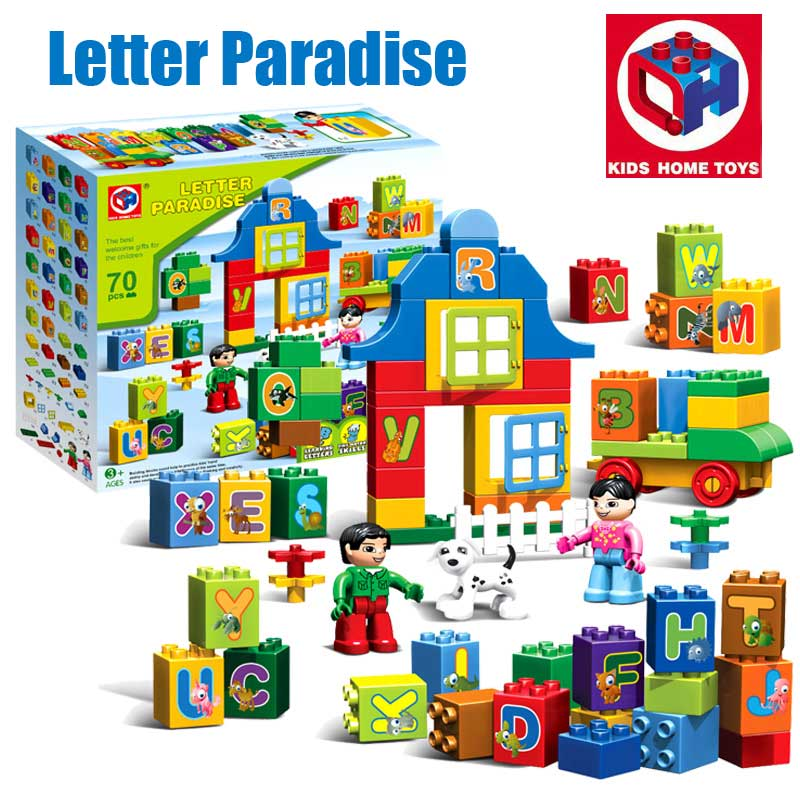 Large Size 70PCS Girl's Dream Letters Paradise Model Figures Building Blocks Bricks Toy Kids Home Toys Compatible With Duplo the trouble with paradise